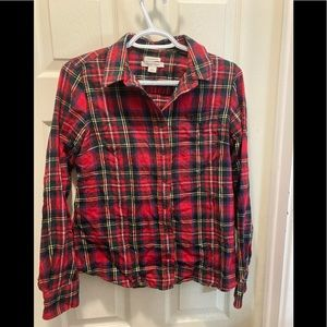 LL Bean red plaid flannel slightly fitted shirt xs
